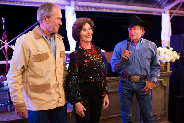 President and Mrs. Bush celebrate their 70th birthday at their Prairie Chapel Ranch in Crawford, TX. with close friends and a private concert by country legend George Strait.