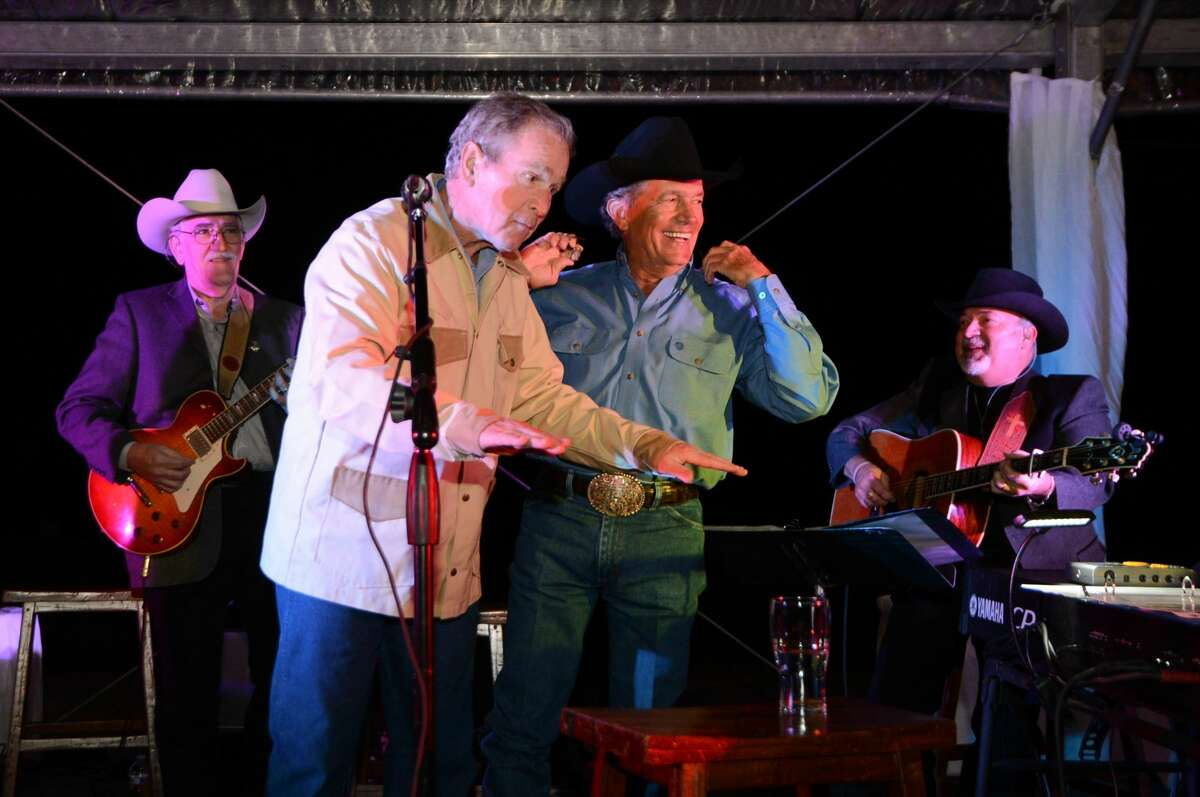 He and Laura partied with George Strait President and Mrs. Bush celebrate their 70th birthday at their Prairie Chapel Ranch in Crawford, Texas on Saturday, Oct. 22, 2016. The pair were joined by close friends and were treated to a private concert by country legend George Strait. Even Jerry Jones was there!