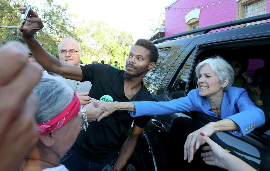 Green Party presidential candidate Jill Stein shakes hands with supporters as she leaves a campaign stop at Galeria E.V.A Sunday Oct. 16, 2016. Photo: Edward A. Ornelas, Staff / San Antonio Express-News / © 2016 San Antonio Express-News
