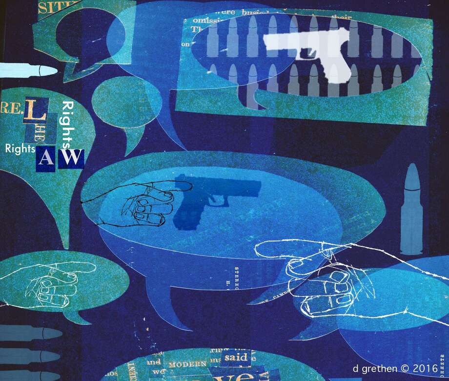 This artwork by Donna Grethen refers to the political conversations about guns following the Oregon shooting. Photo: / Donna Grethen