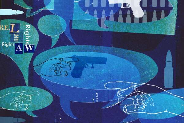 This artwork by Donna Grethen refers to the political conversations about guns following the Oregon shooting.