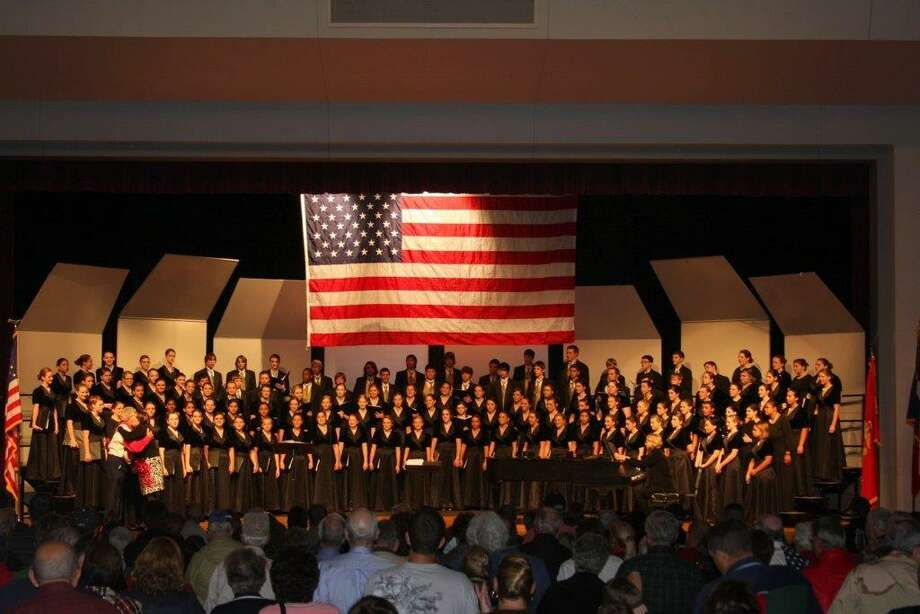 Students in  combined choirs and band at Montgomery High School saluted veterans during their annual Veterans' Day concert last November. The 2016 appreciation concert takes place Nov. 7 at 6:30 p.m. in the high school auditorium, with a reception at 5:30 p.m. Attendees are encouraged to arrive early as the event usually becomes standing room only.