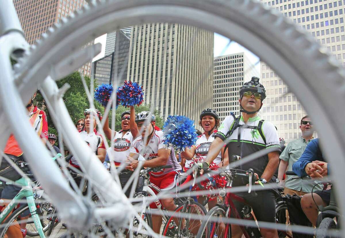 Cyclists rally in front of City Hall before going in and voicing their support for the Houston Bike Plan at a City Council public comment session on Oct. 25.