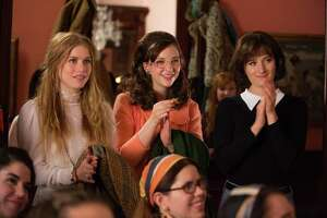"""Patti Robinson (Genevieve Angelson) and Cindy Reston (Erin Darke) look up to confident writer Nora Ephron (Grace Gummer), who refuses to tolerate the treatment at News of the Week in """"Good Girls Revolt"""" on Amazon Prime."""
