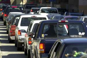 Cars line up to get on the San Francisco Bay Bridge in San Francisco on Monday, May 7, 2001. The Texas Transportation Institute, in its annual report on congestion in 68 urban areas, found that the average person spent 36 hours a year sitting in traffic in 1999, up from 11 hours in 1982. In the San Francisco-Oakland region, residents spent an average of 42 hours a year in traffic in 1999, up from 38 hours in 1997. (AP Photo/Justin Sullivan)