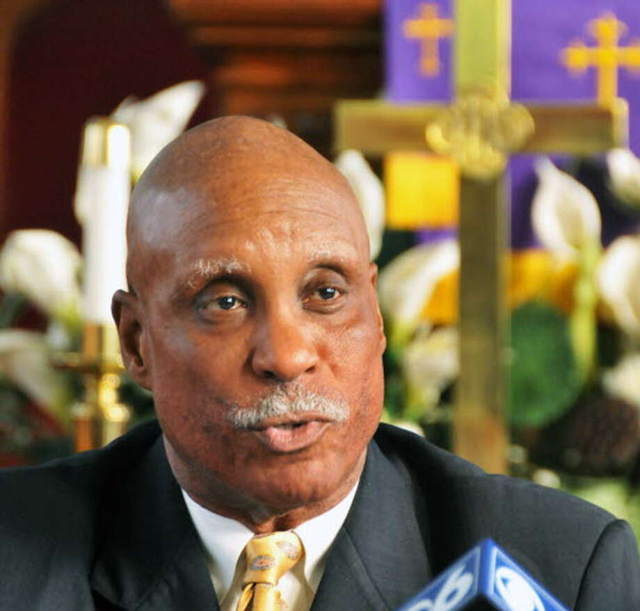 Rev. Edward B. Smart, head of the Albany Citizens' Police Review Board, speaks during a 2009 news conference. (John Carl D'Annibale / Times Union archive)