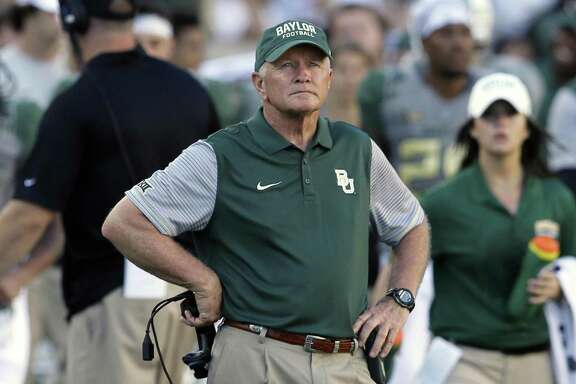 Baylor acting head coach Jim Grobe watches from the sideline during the second half against SMU in Waco on Sept. 10, 2016.
