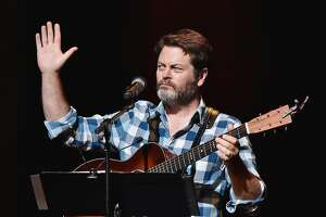 NEW YORK, NY - AUGUST 23:  Actror Nick Offerman performs Summer Of 69: No Apostrophe with wife Megan Mullally at Beacon Theatre on August 23, 2016 in New York City.  (Photo by Mike Coppola/Getty Images)