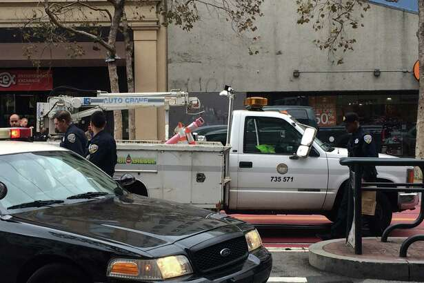 The truck was in the middle of the street near Market and Fifth streets in San Francisco when the driver got into a yelling match with someone outside his car that resulted in the stabbing of the driver.