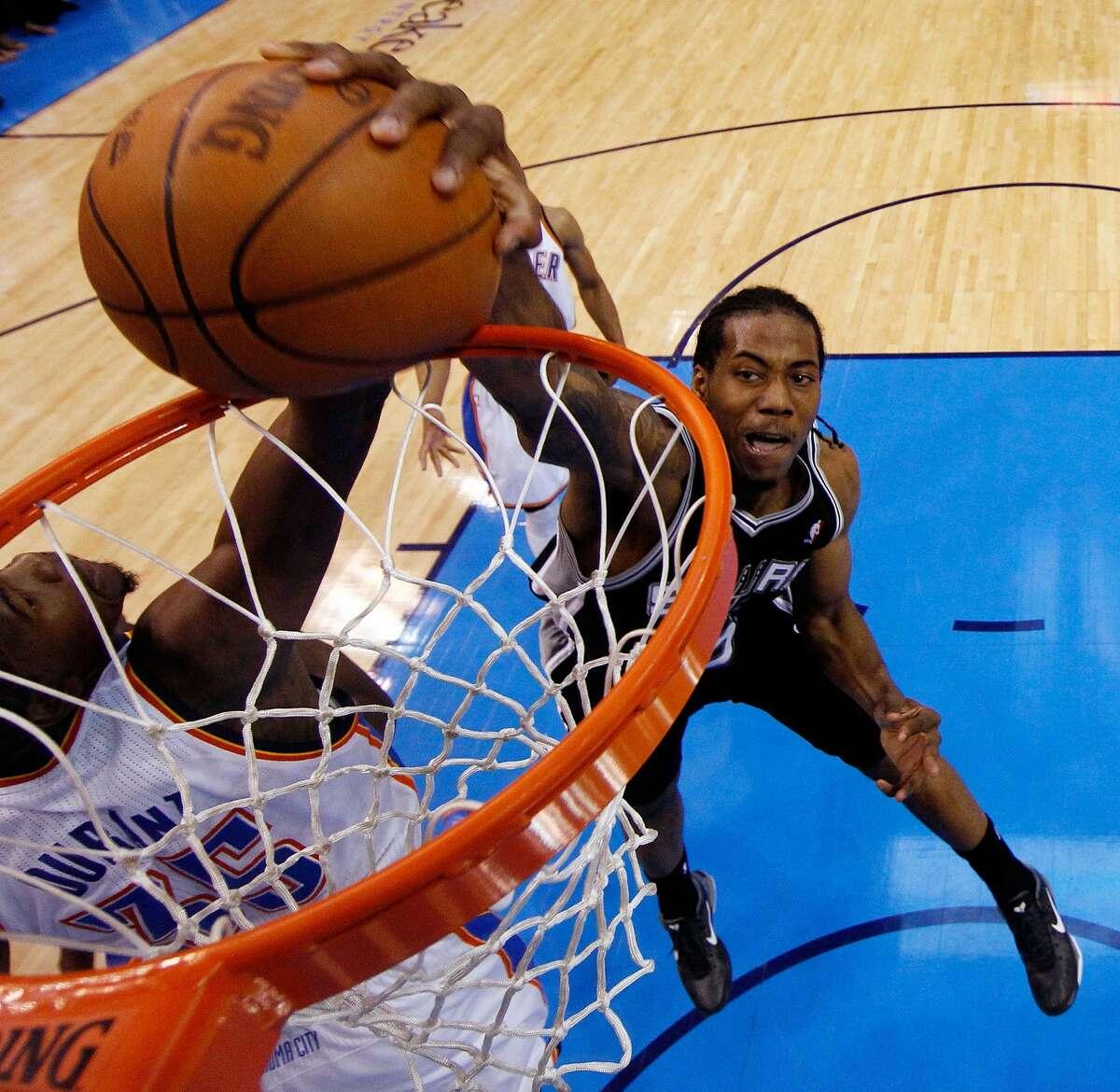 Mar. 16, 2012 : Spurs 114, Thunder 105 Durant: 25 points (8-19 FG/2-8 3PT), 7 rebounds, 3 assists, 2 steals, 2 blocks, 5 turnovers Leonard: 15 points (5-9 FG/2-4 3PT), 5 rebounds, 3 steals, 2 turnovers