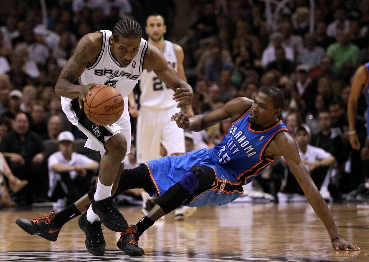 Feb. 4, 2012 : Spurs 107, Thunder 96 Durant: 22 points (9-19 FG), 11 rebounds, 4 assists, 4 blocks, 2 turnovers Leonard: 15 points (5-7 FG/3-3 3PT), 6 rebounds, 5 assists, 1 steal, 0 turnovers