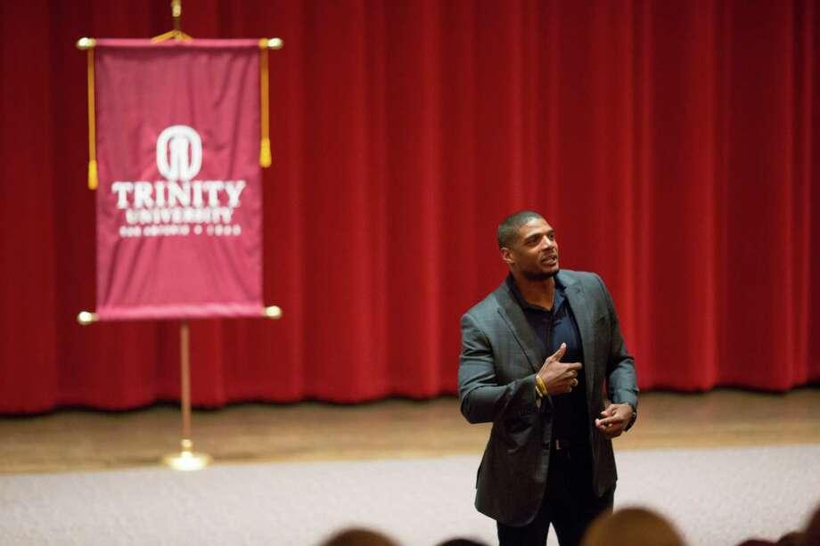 Michael Sam spoke with Trinity University students in Oct. 24, 2016. Photo: Courtesy Photo /Trinity University