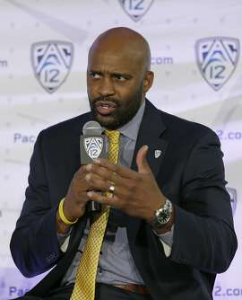 California head coach Cuonzo Martin answers a question during NCAA college basketball Pac-12 media day Friday, Oct. 21, 2016, in San Francisco. (AP Photo/Eric Risberg)