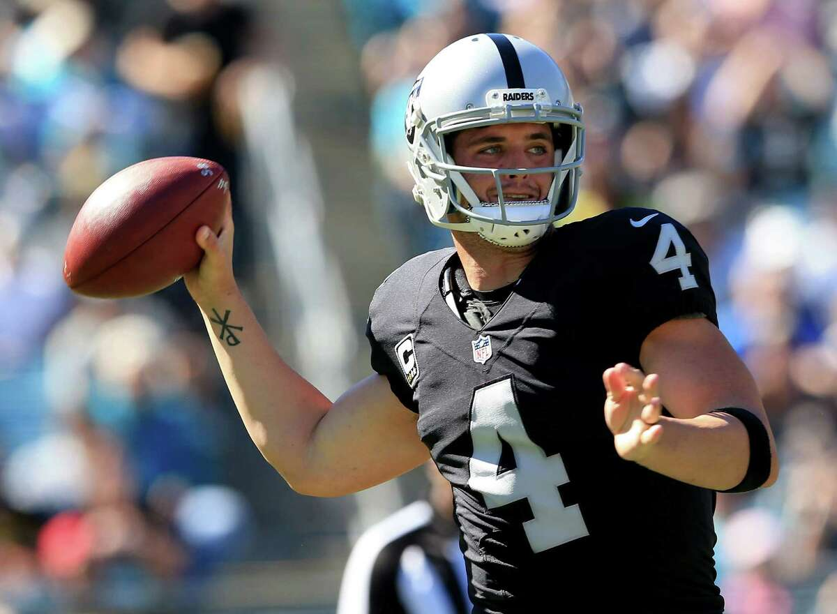 JACKSONVILLE, FL - OCTOBER 23: Derek Carr #4 of the Oakland Raiders attempts a pass against the Jacksonville Jaguars during the game at EverBank Field on October 23, 2016 in Jacksonville, Florida.
