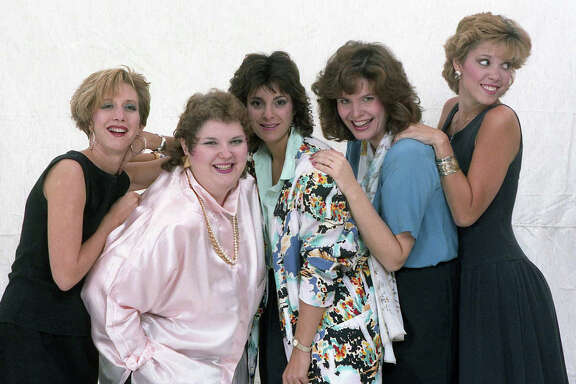 KLOL's Dayna Steele, KLTR's Betsy Ballard, KKBQ's Jackie Robbins, KKHT's Lauren Valle and KKHT's Hannah Storm at the Chronicle studio, Oct. 1, 1986.