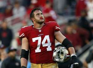 San Francisco 49ers' Joe Staley watches replay of Colin Kaepernick's fumble at goal line in finals seconds of 13-10 loss to St. Louis Rams' during NFL game at Levi's Stadium in Santa Clara, Calif., on Sunday, November 2, 2014.
