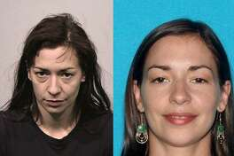 Hannah Ashley in a July 2015 booking photo (left) and in a 2012 driver's license photo. Authorities said she took her son from the home of her mother, who has legal custody of the baby, late Saturday.