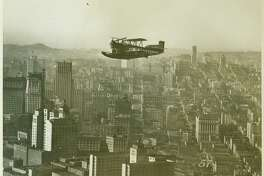 An air ferry in flight over San Francisco. From the Irma and Paul Milstein Division of United States History, Local History and Genealogy.