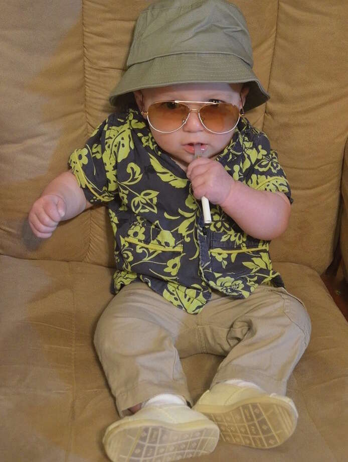 """HUNTER S. THOMPSON (2015): This is one of those entries that I wish I had thought of myself when my kids were babies. Stacey Andres writes: """"Seven-month-old Wes as Hunter S. Thompson -- more accurately, Raoul Duke in 'Fear and Loathing in Las Vegas.'"""""""