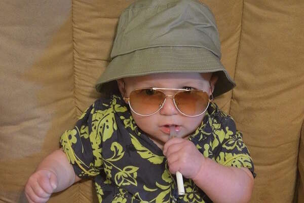 "HUNTER S. THOMPSON (2015): This is one of those entries that I wish I had thought of myself when my kids were babies. Stacey Andres writes: ""Seven-month-old Wes as Hunter S. Thompson -- more accurately, Raoul Duke in 'Fear and Loathing in Las Vegas.'"""