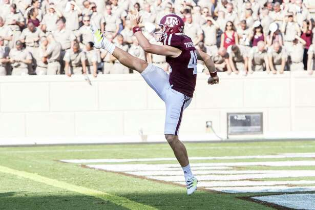 Texas A& punter Shane Tripucka in 2016 action vs. UCLA.