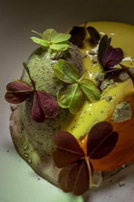Persimmon with buckwheat and sabayon at Nico. Photo: John Storey, Special To The Chronicle