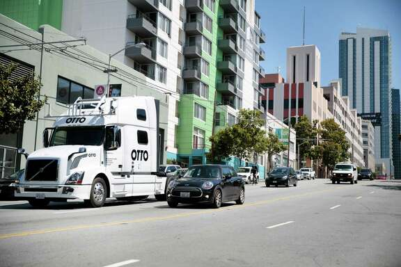FILE -- An Otto truck in San Francisco, May 16, 2016. Otto, the Uber-owned self-driving vehicle operation, announced the completion of its first self-driving commercial delivery in October, having delivered its beer load from Fort Collins, Colo., to Colorado Springs, a roughly 120-mile trip on Interstate 25. (Ramin Rahimian/The New York Times)