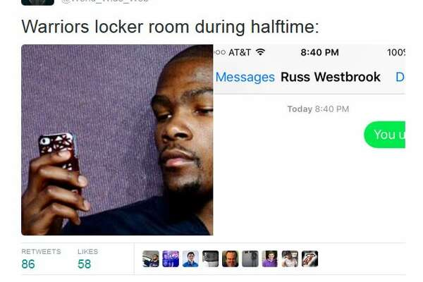 Social media reaction during Spurs NBA season opener at the Warriors Oct. 25, 2016.