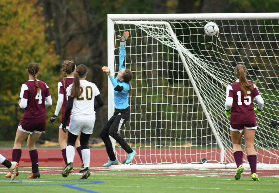 Averill Park scores the first goal of their Class A girls' soccer semifinals against Burnt Hills on Tuesday Oct. 25, 2016 in Stllwater, N.Y.  (Michael P. Farrell/Times Union) Photo: Michael P. Farrell / 20038529A