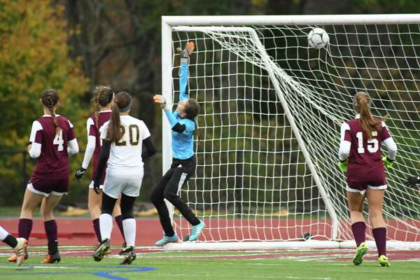 Averill Park scores the first goal of their Class A girls' soccer semifinals against Burnt Hills on Tuesday Oct. 25, 2016 in Stllwater, N.Y.  (Michael P. Farrell/Times Union)
