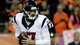 Houston Texans quarterback Brock Osweiler (17) leaves the field after an NFL football game against the Denver Broncos, Monday, Oct. 24, 2016, in Denver. The Broncos won 27-9. (AP Photo/Jack Dempsey)