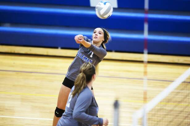 Coleman High School sophomore Makailyn Monson hits the ball in a game against Sacred Heart Academy at Coleman High School on Tuesday.