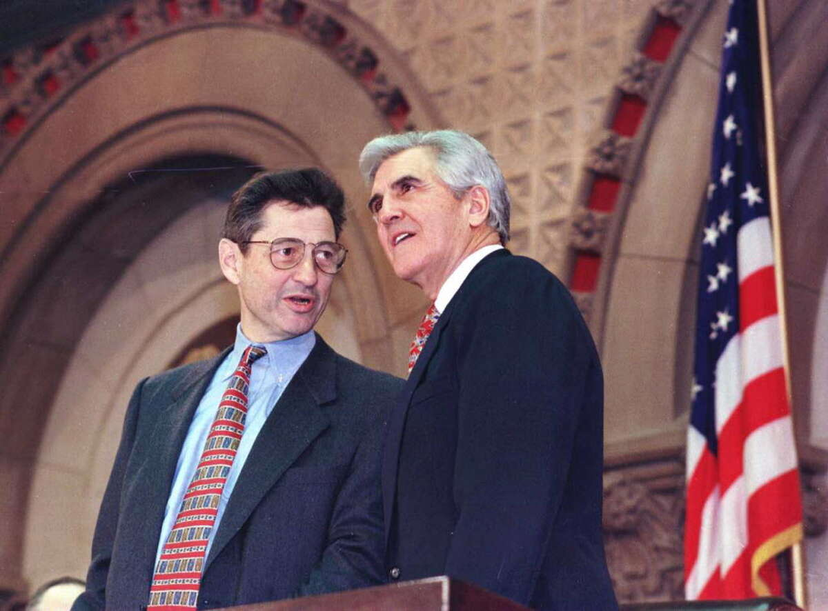 New re-elected speaker of the Assembly, Sheldon Silver, and re-elected Senate Majority Leader Joe Bruno stand near the podium before Governor Pataki delivers the State of the State Address on January 8, 1997.