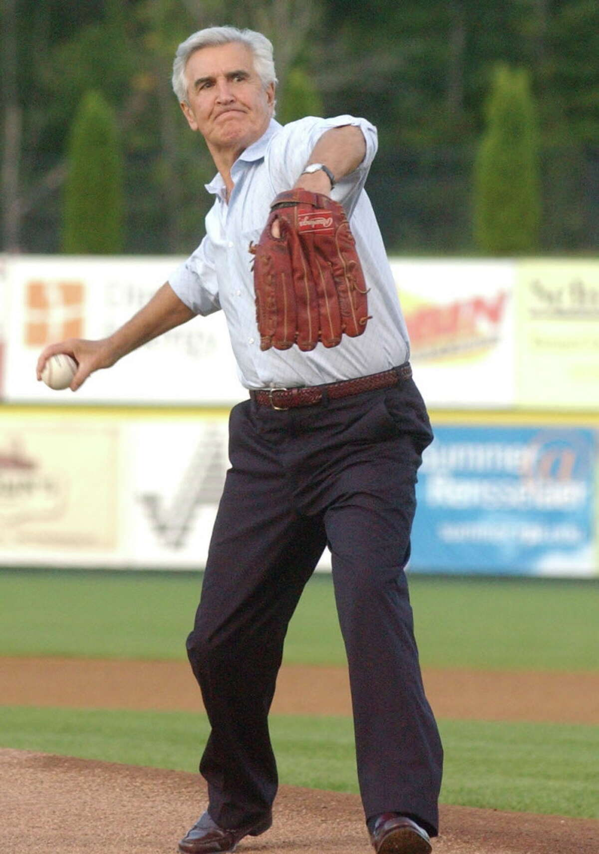 Shannon DeCelle Special to the Times Union Senator Joe Bruno throws out the first pitch of the final Valley Cats season game against the Oneanta Tigers Tuesday evening, Sept 4, 2007, at the Joe Bruno Field in Troy,New York.