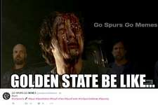 Social media reaction during Spurs NBA season opener at the Warriors Oct. 25, 2016.