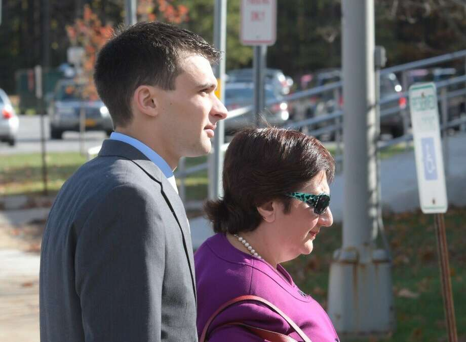 Alexander West and his attorney Cheryl Coleman arrive in Warren County Court on Wednesday, Oct. 27, 2016, to be arraigned for a boat crash that killed a girl on Lake George over the summer. (Skip Dickstein/Times Union)