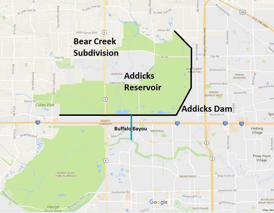 The Addicks Reservoir was designed to protect downtown, which sits on Buffalo Bayou. The reservoir will be allowed to flood homes to its northwest before Buffalo Bayou is allowed to flood downtown.