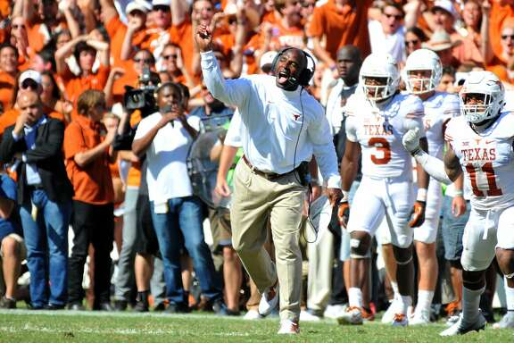 DALLAS, TX - OCTOBER 8: Head coach Charlie Strong of the Texas Longhorns reacts to a Sooners fumble during their loss to the Oklahoma Sooners on October 8, 2016 at The Cotton Bowl in Dallas, Texas. (Photo by Jackson Laizure/Getty Images)