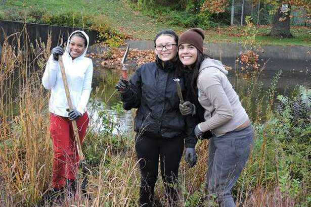 Volunteers gathered at Bridgeport's Glenwood Park over the weekend, despite pouring rain, for a planting and habitat restoration event led by Save the Sound, a bi-state program of Connecticut Fund for the Environment.