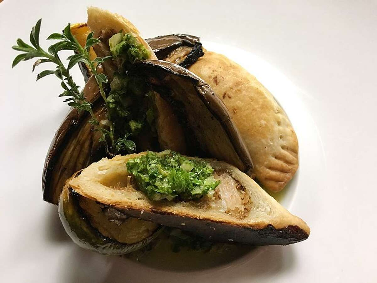 Boar empanadas with chimichurri and roasted vegetables from Restaurant Gwendolyn.