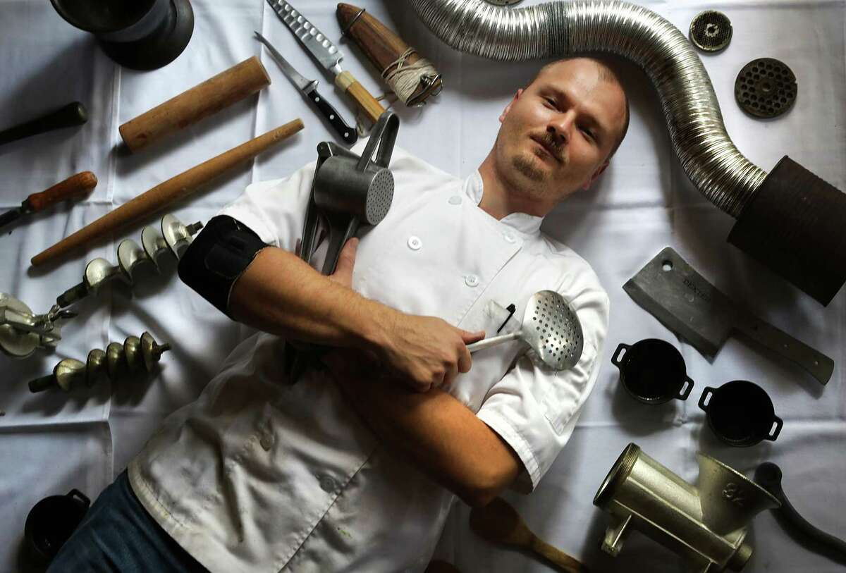Chef and owner of Restaurant Gwendolyn Michael Sohocki with some of his pre-Industrial Revolution cooking tools