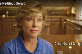 Charlyn Daughtery, the wife of Travis County Commission candidate Gerald Daughtery, asked in a humorous ad for voters to re-elect her husband to get him out of the house.