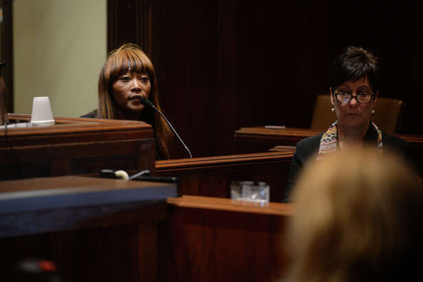 """At the request of Chad """"Pimp C"""" Butler's son Chad Butler Jr., Chinara Butler, widow to the deceased rapper, was removed as the administrator of the Butler estate during a a hearing on Wednesday. Chinara Butler testifies during the hearing. Photo taken Wednesday, October 26, 2016 Guiseppe Barranco/The Enterprise"""
