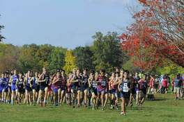 Runners compete in the FCIAC Boys Cross Country Championship at Waveny Park in New Canaan, Conn. on Wednesday, Oct. 19 2016.
