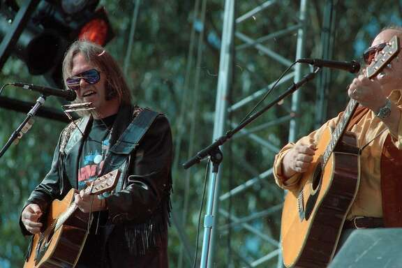 Neil Young and David Crosby Laughter, Love & Music concert in memory of Bill Graham who was killed in a helicopter crash. The concert to place on the Polo Fields in Golden Gate Park,11/03/1991