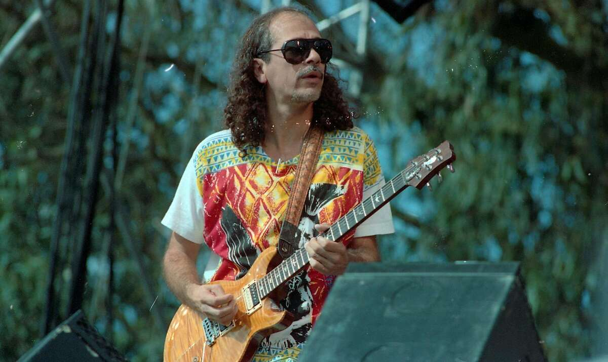 Carlos Santana at Laughter, Love & Music concert in memory of Bill Graham who was killed in a helicopter crash. The concert to place on the Polo Fields in Golden Gate Park,11/03/1991