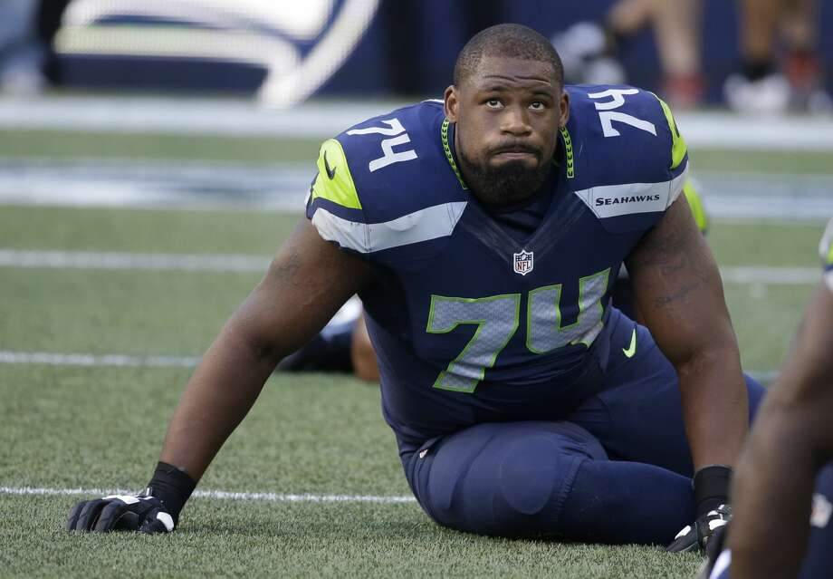 Seattle Seahawks offensive tackle George Fant stretches  during warmups before a preseason NFL football game against the Dallas Cowboys, Thursday, Aug. 25, 2016, in Seattle. (AP Photo/Elaine Thompson) Photo: Elaine Thompson/AP