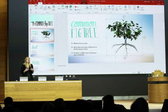 Heather Alekson, with the experience design team at Microsoft, demonstrates the 3-D capabilities added to Windows 10 in a PowerPoint presentation Wednesday in New York.