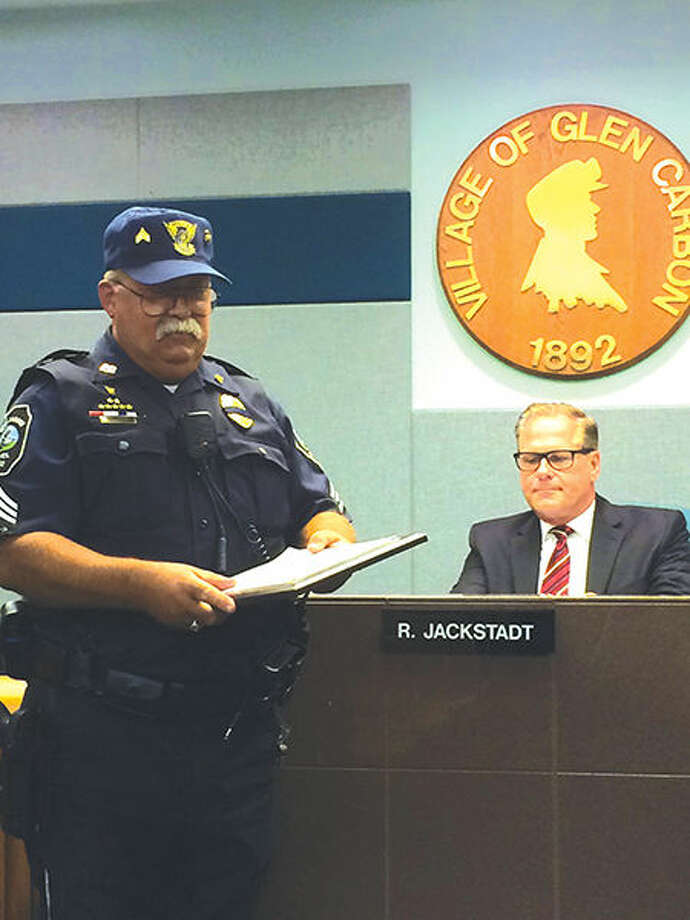 Glen Carbon Police Sgt. James Jones was recently honored for 40 years of service to the police department.
