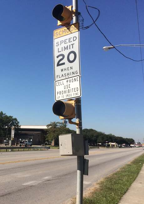 The sign on Aldine Mail Route Road indicating the 20 mph speed limit inside a school zone. Investigators want to know if the warning lights were functioning Wednesday morning, Oct. 26, 2016.